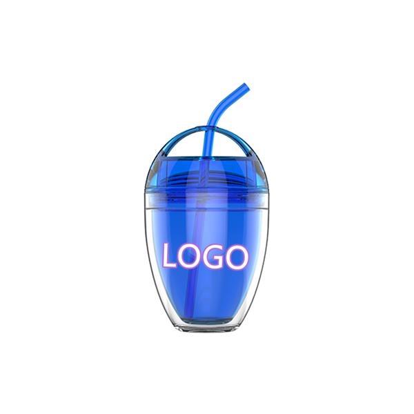 16oz custom logo print double wall plastic drinking cup