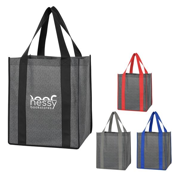 Heathered Non-Woven Shopper Tote Bag