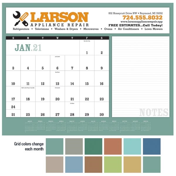 Notes 2021 Desk Calendar Pad