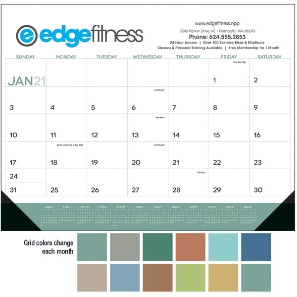 Desk Pad with Vinyl Corners 2021 Calendar