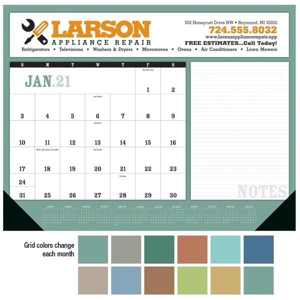 Notes 2021 Desk Calendar Pad with Vinyl Corners