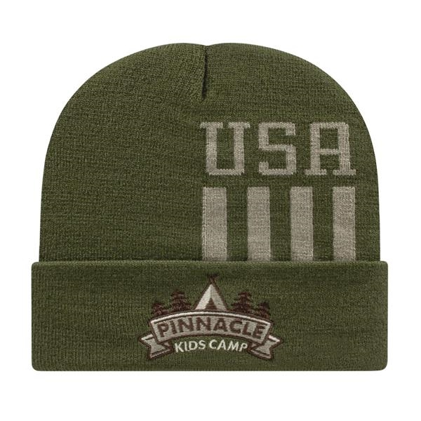 In Stock Patriotic Knit Cap with Cuff
