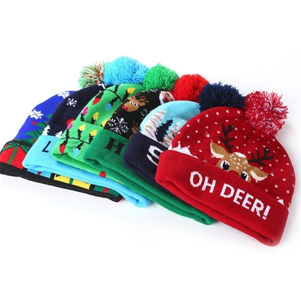 Christmas Season LED Lighting Knit Hat Beanie