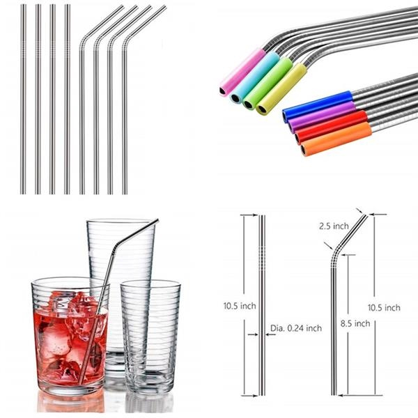 Reusable 304  Stainless Steel Drinking Straws With Silicon C