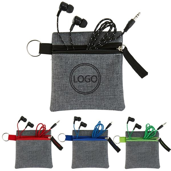 Ear Bud Braided Cable in Fabric Zippered Pouch
