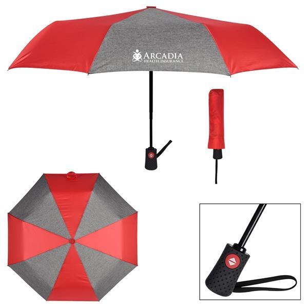 "42"" Arc Heathered Telescopic Folding Umbrella"