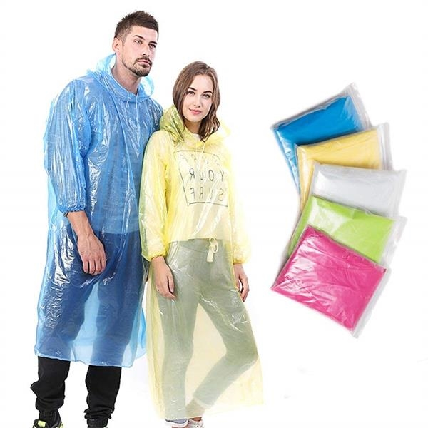 Disposable Rain Ponchos for Adults Assorted Colors