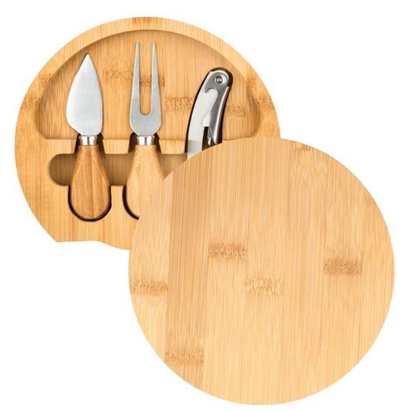 Gouda Mini Bamboo Cheese Board Knife Set