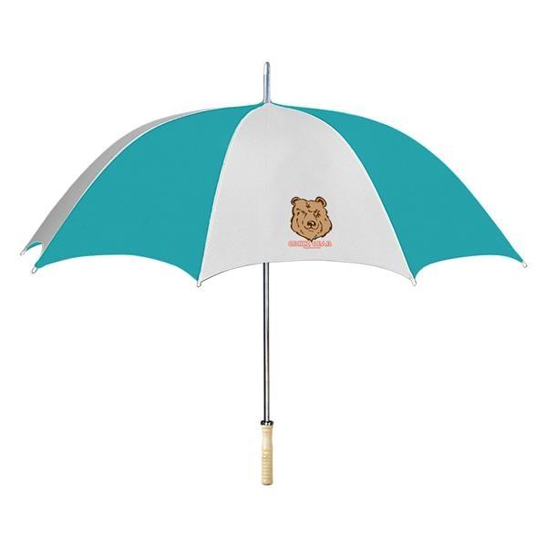 "48"" Arc Umbrella - Automatic open umbrella with wood handle and metal shaft."