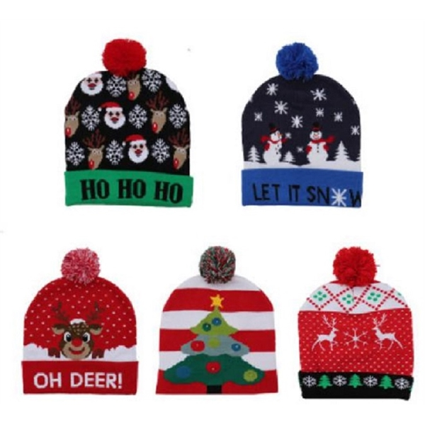 Adults and Kids Christmas LED Pom Beanie