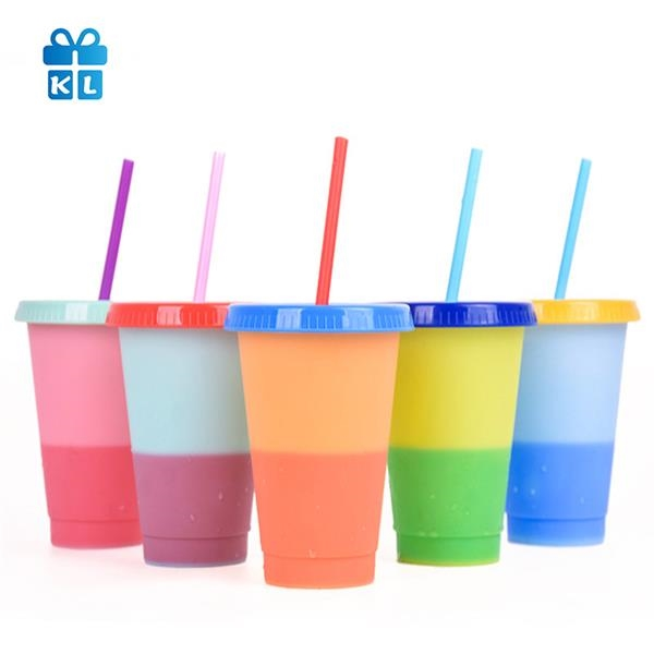 24 oz Color Discoloration Cup With Straws and Lids