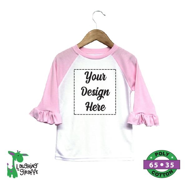 Toddler Ruffle Raglan Tee White/Pink- Laughing Giraffe®