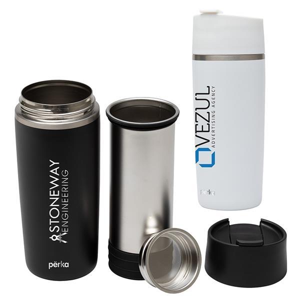 Perka® Macchiato 12 oz. Double Wall Coffee/Tea Press Tumbler