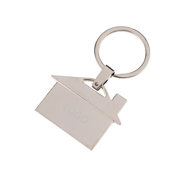 House Shaped Metal Keychain