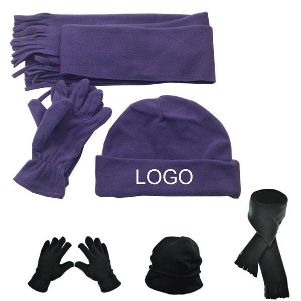 Fleece Scarf Hat Gloves Set