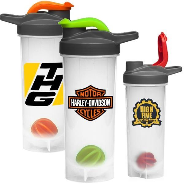 Gym Water Bottles - 24 oz. Shaker Bottle w/ Mixer & Handle