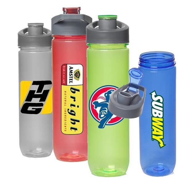 Plastic Water Bottles - 28 oz Sports Bottle w/ Flip Lid