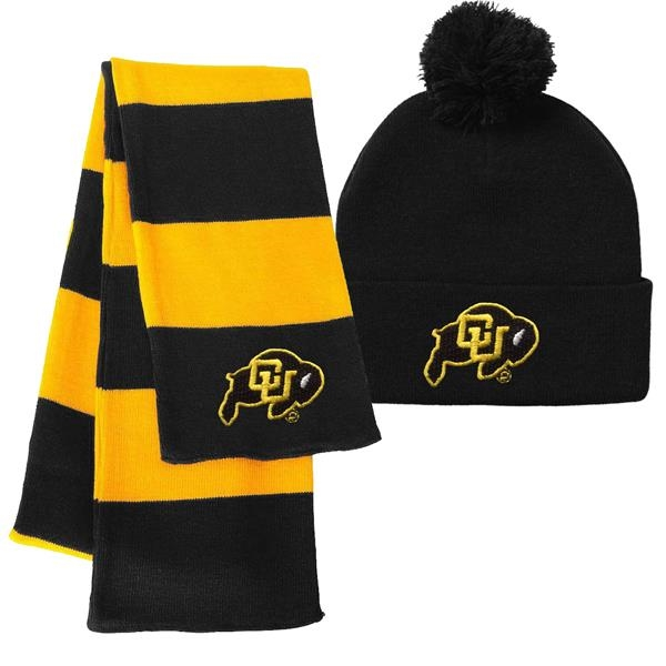 Pom Pom Beanie Cap and Knit Rugby Scarf Combo