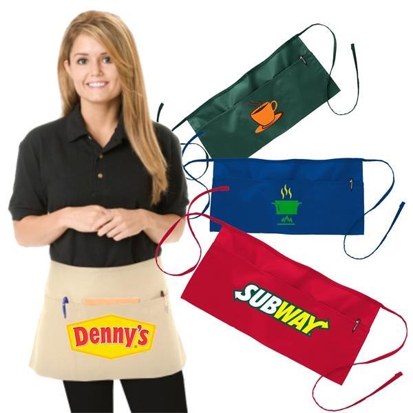 Restaurant Aprons w/ Custom Logo Full Length and 3 Pockets