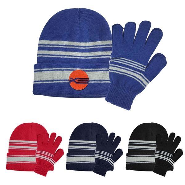 Cuff Beanie And Gloves Set