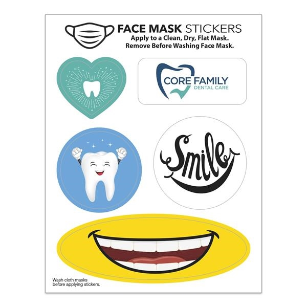 """Face Mask Stickers (4 1/2"""" x 3 1/2"""" Sheet)"""