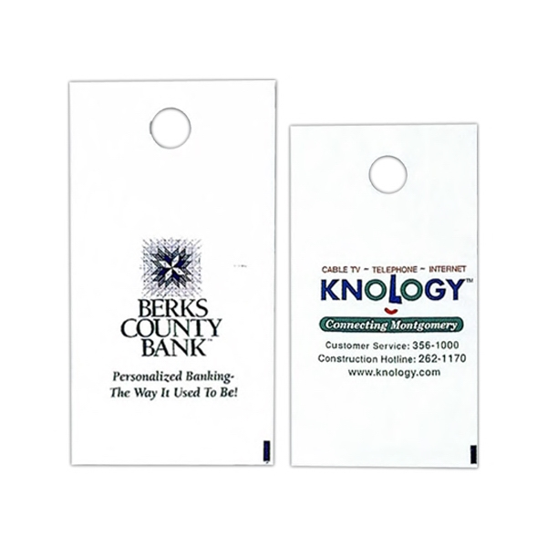 "1 Color - White Custom Printed Plastic Door Hanger Bag, 7 3/4"" X 14"" Photo"