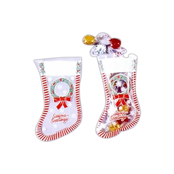 "15"" - Clear Christmas Stocking With Stock Design, Additional Imprint Photo"
