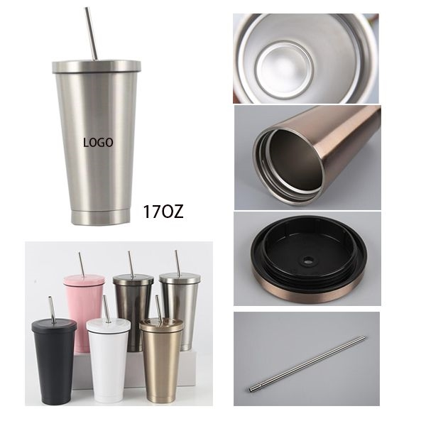 17 oz. Stainless Steel Cup With Straw