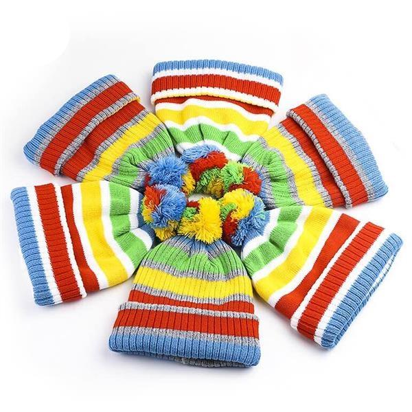 Colorful Rainbow Stripe Knit Winter Beanie