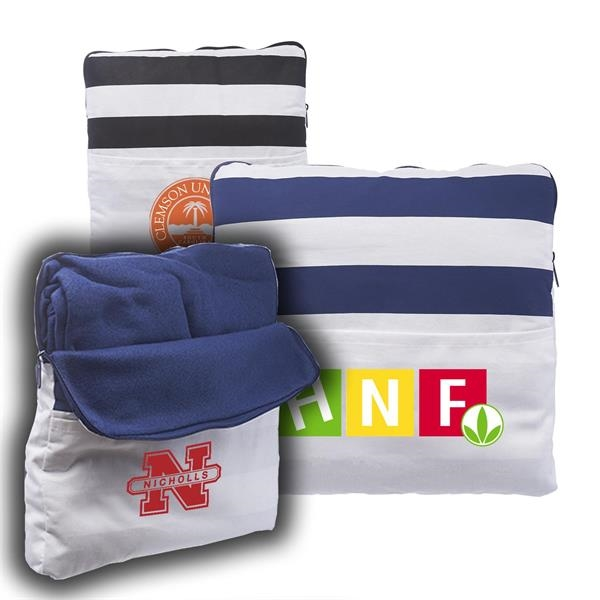 2-in-1 Travel Pillow Blankets w/ Matching Zipper and Pockets