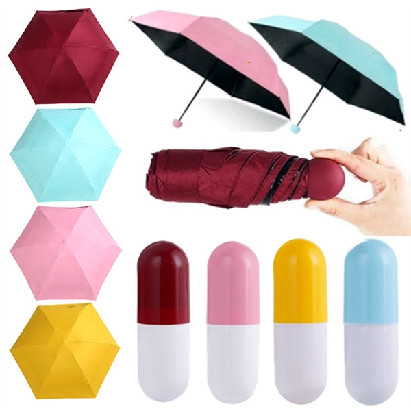 Mini Folding Umbrella with Capsule Case