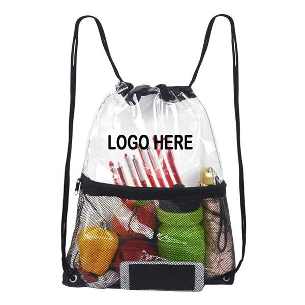 Clear PVC Mesh Cinch Bags Drawstring Backpack