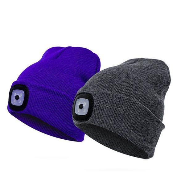 LED Knit Beanie Hat Acrylic Cap W/ Flashlight