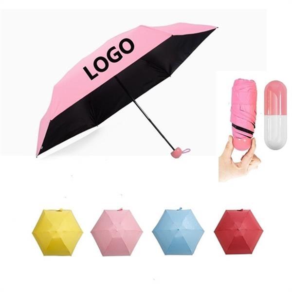 Portable Capsule Case  Folding Umbrella