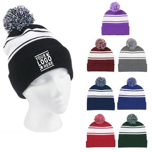 Two-Tone Knit Pom Beanie Hat