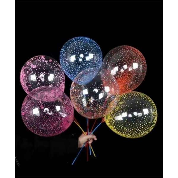 Latex transparant balloon with foam particles inside
