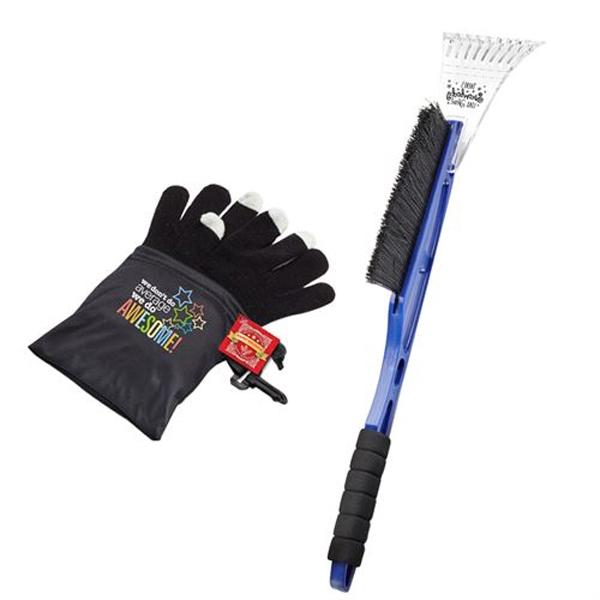 Ice Scraper/Snow Brush & Touchscreen Gloves Gift Set