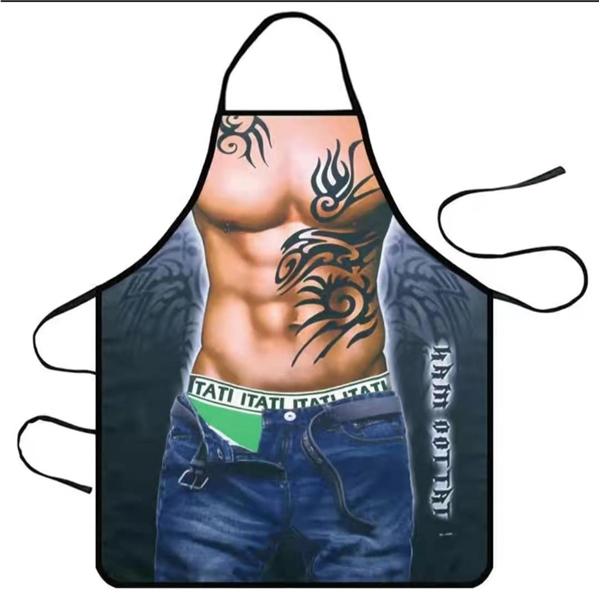 Waterproof fabric funny print apron-tatoo man