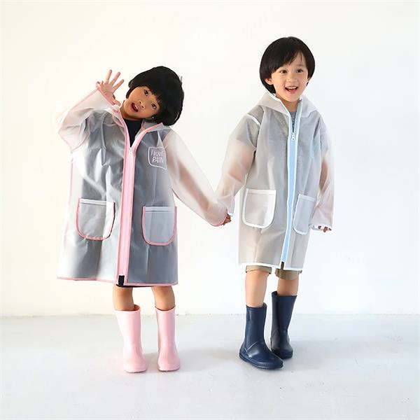 PEVA Children Raincoat with Zipper