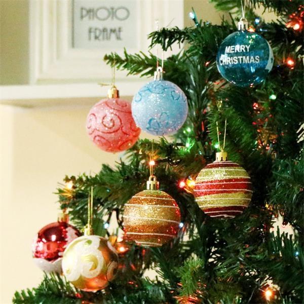 24PCS Christmas Balls Barreled Painted Ball