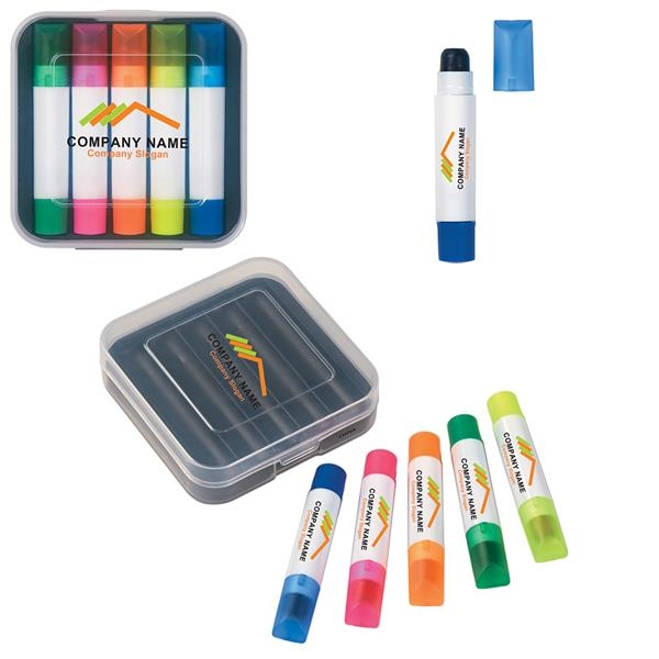 5 compact Gel wax highlighters in portable pocket case