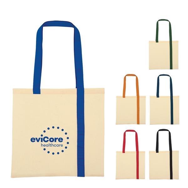 Econo Canvas Tote Bag with Stripes