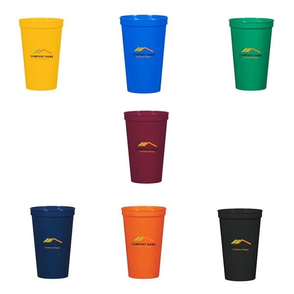 22 ounce Colorful Sturdy Plastic Beverage Cup