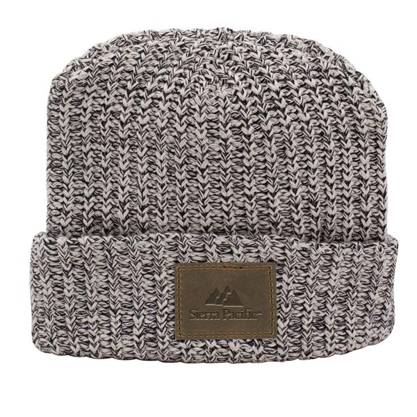 MILLINER Cuffed 100% Cotton Knit Beanie with Leather Patch