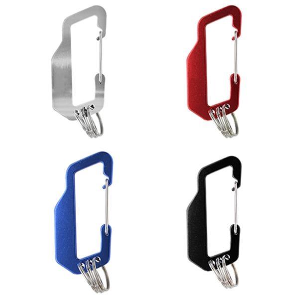 Aluminum Alloy Carabiner With Triplet Split Key Ring Clip