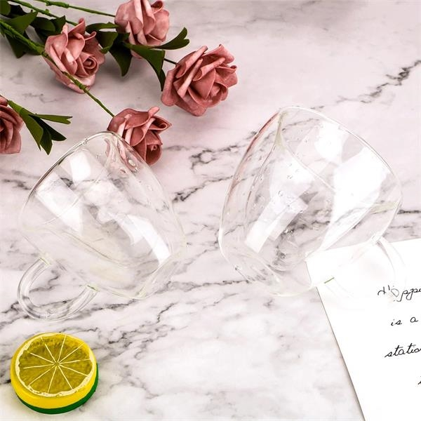 Glass Drinkware Heart Love Shaped Mugs