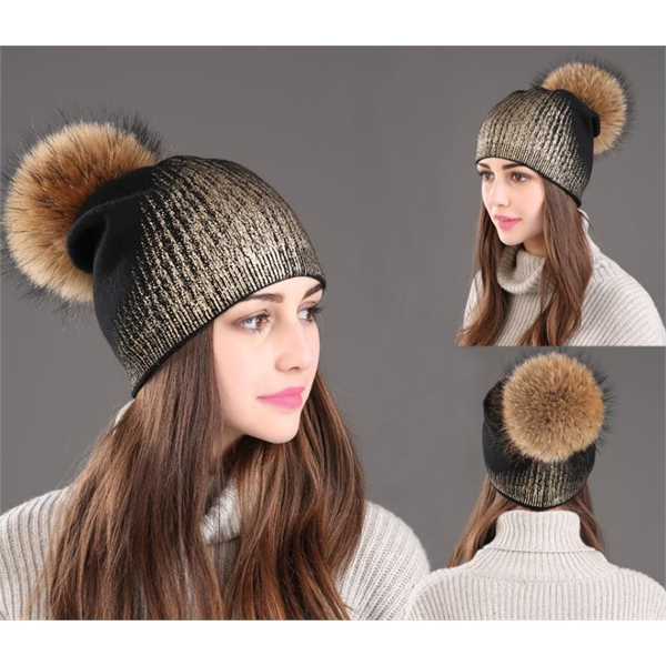 Fashion Knitted Hat with Real Hair Pompom for Women