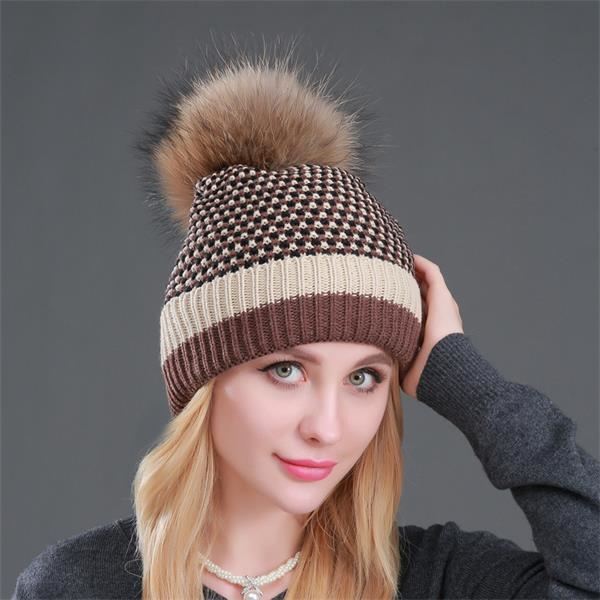 Houndstooth Warm Knitted Hat with Big Hair Ball