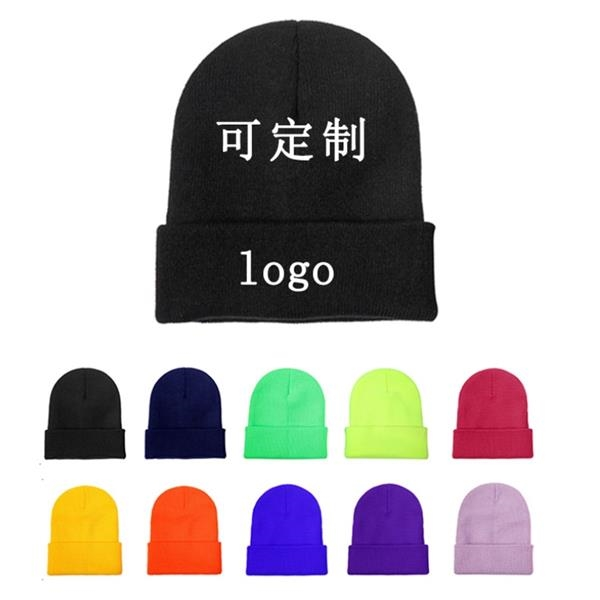 Acrylic Beanie With Cuffs Cstom Winter Cap w/Embroidery