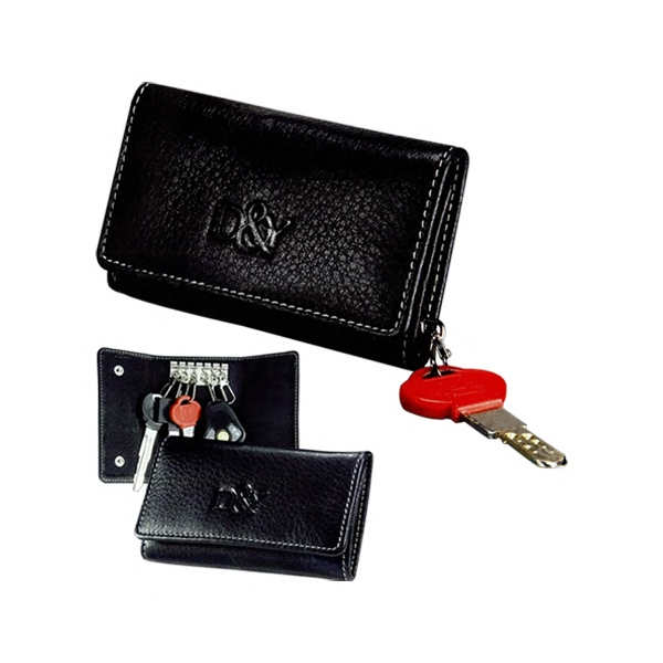 Signature - Top Grain Leather Tri-fold Key Case With Six Quick Release Chrome Key Hooks Photo